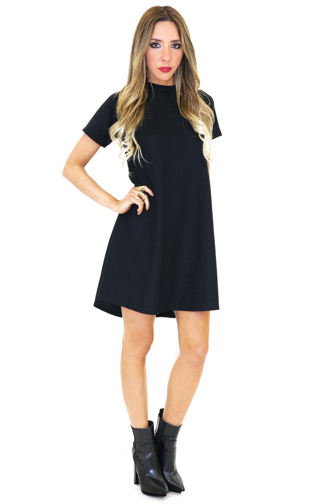 ALANA SHORT SLEEVE DRESS - Black