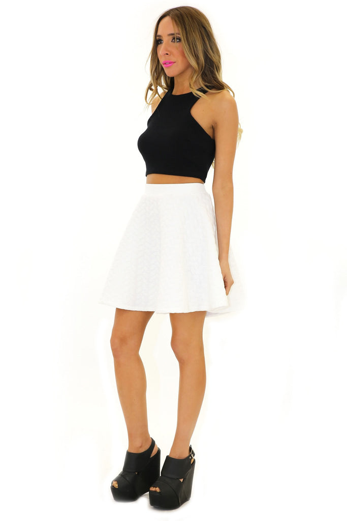 LANDONA QUILTED A-LINE SKIRT