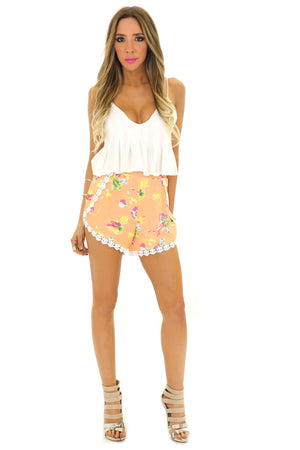 HUNTER LACE TRIM FLORAL SHORTS - Haute & Rebellious