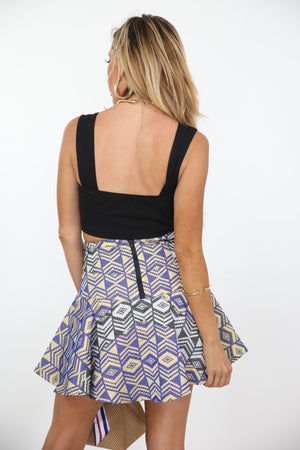 Pattern Flair Mini Skirt - Blue