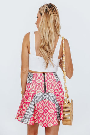 Pattern Flair Mini Skirt - Pink