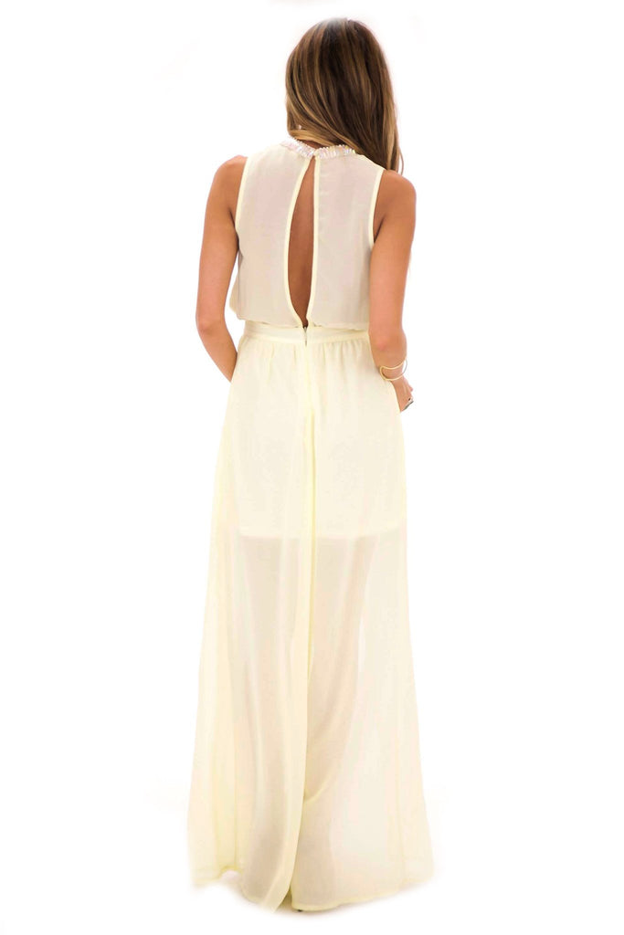 BECKA EMBELLISHED NECK MAXI - Pale Yellow - Haute & Rebellious