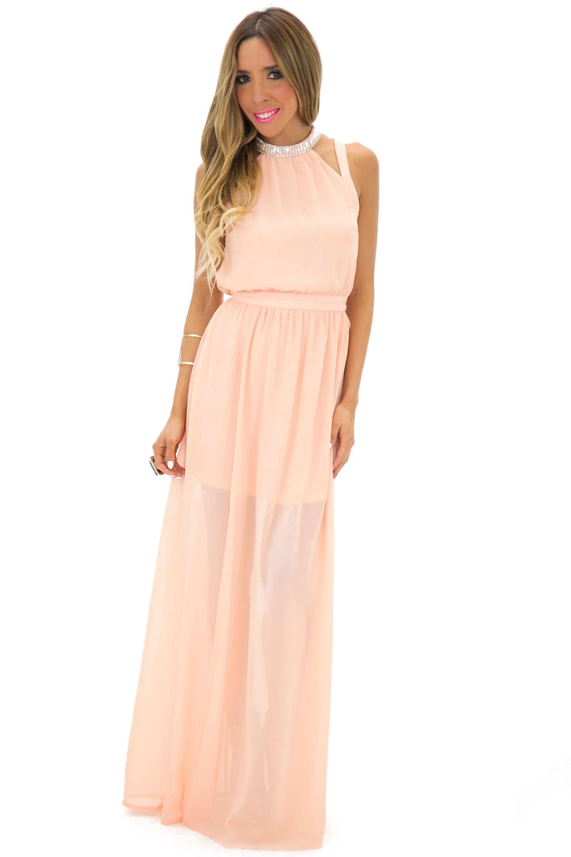 BECKA EMBELLISHED NECK MAXI - Blush - Haute & Rebellious