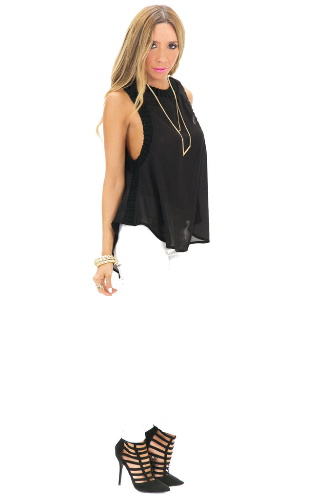 BALON KNIT TRIMMED TANK - Black