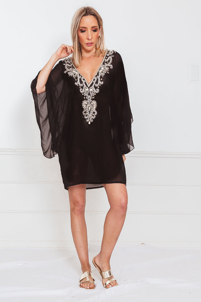 Crystal Embellished Cover-Up Tunic