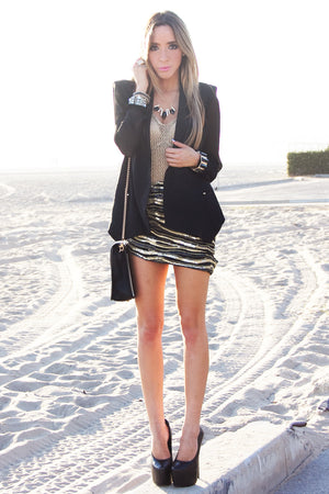 POINTY BLAZER WITH CHIFFON SLEEVES - Black - Haute & Rebellious