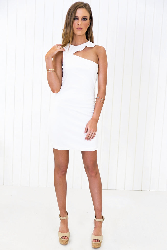 Sasha Asymmetric Shoulder Body-Con Dress