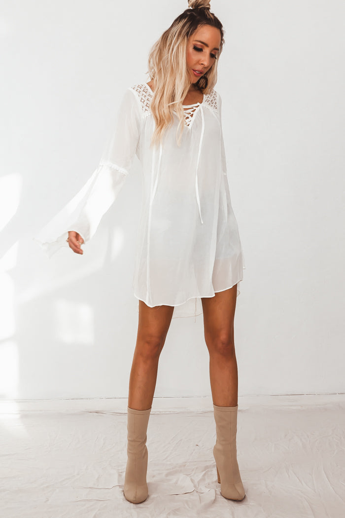 Bell Sleeve Tunic with Lace-Up Detail - Cream /// Only 1-M Left ///