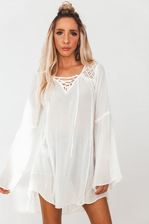 Bell Sleeve Tunic with Lace-Up Detail - Cream /// Only 1-S/M Left ///