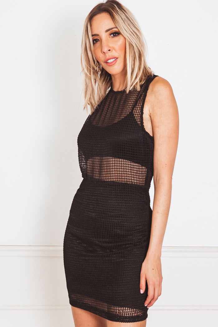Mesh Contrast Mini Dress - Black
