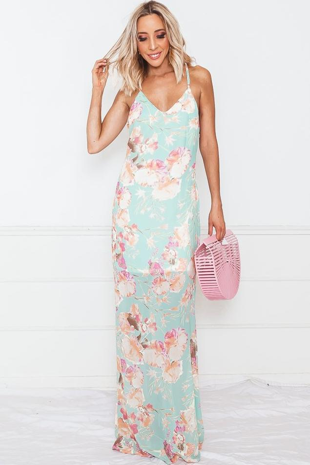 Floral Print Sleeveless Maxi Dress - Mint