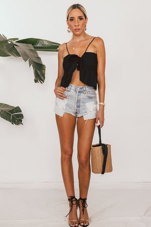 Ruffle Crop Top with Front Tie