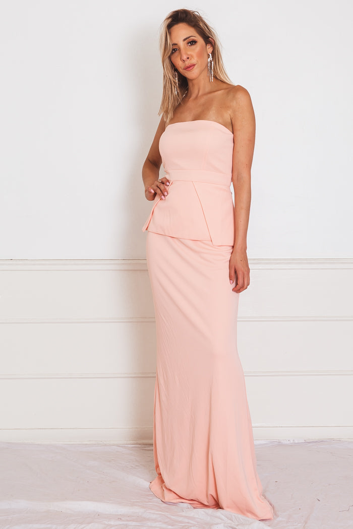 Peplum Sleeveless Maxi Dress - Blush