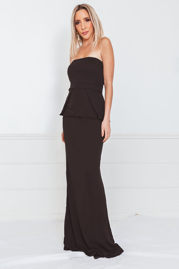 Peplum Sleeveless Maxi Dress - Black