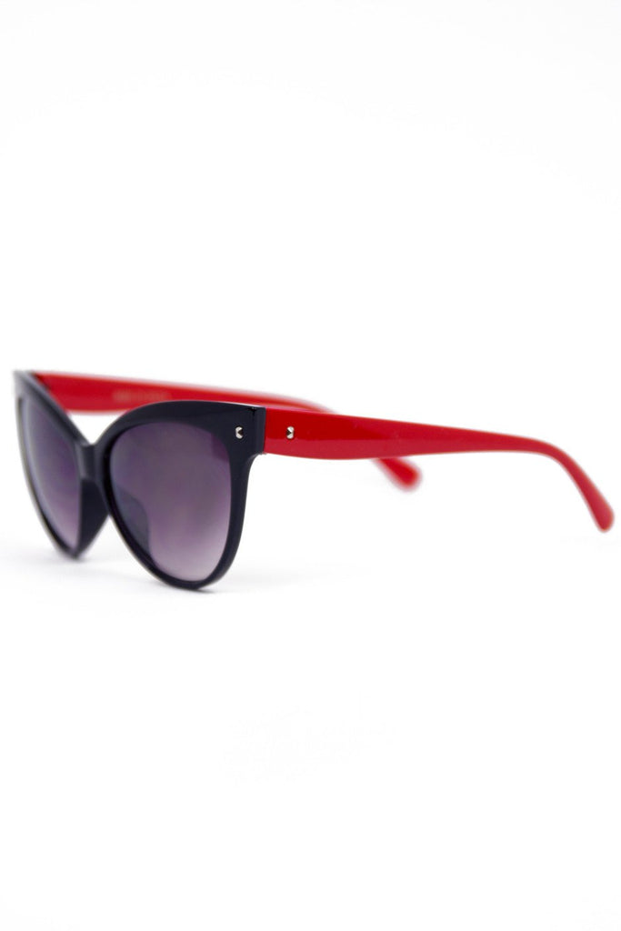 CAT EYE FRAME SUNGLASSES - Black/Red