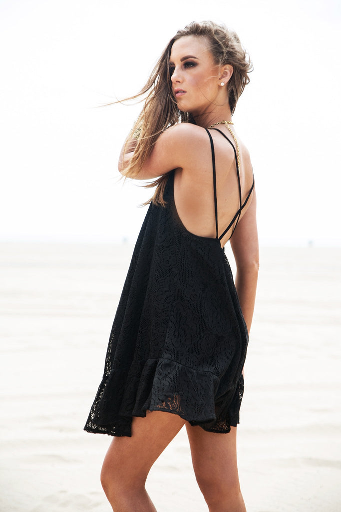 Marbella Lace Sun Dress - Black