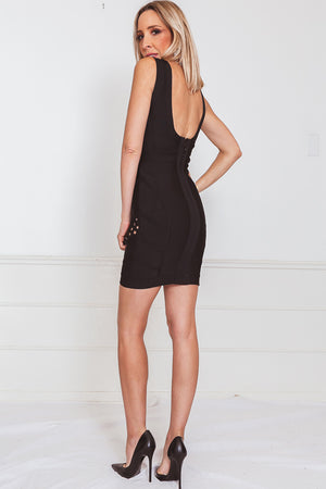 Bodycon Bandage Mini Dress - Black