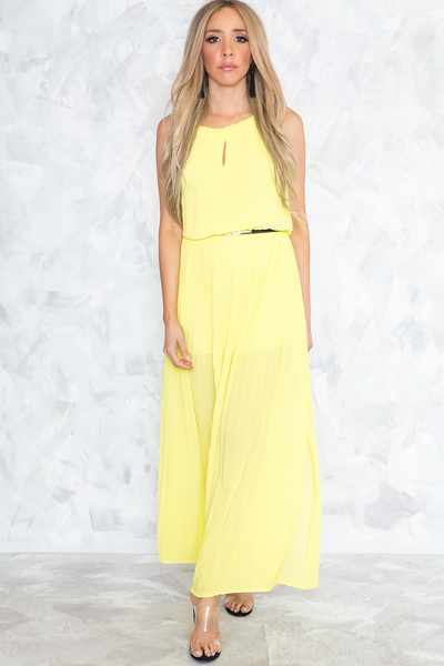 Pleated Slit Flowy Maxi Dress