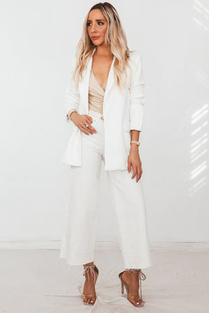 Laurent Boyfriend Blazer - White