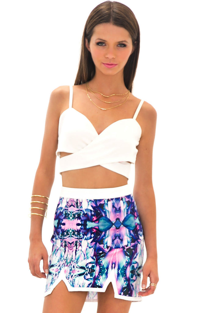 SURI TROPICAL MIRRORED SKIRT