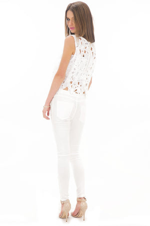 ELLI FLOWER LACE CROP TOP - WHITE - Haute & Rebellious