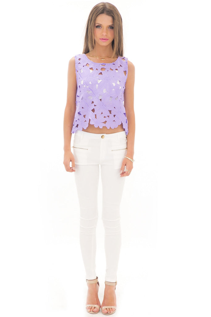 ELLI FLOWER LACE CROP TOP - LAVENDER