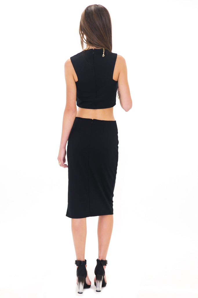 RAQUEL SLIT PENCIL SKIRT - BLACK