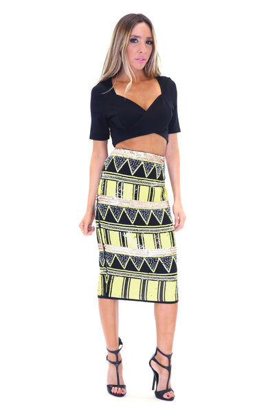 ADAHY TRIBAL SEQUIN SKIRT - NEON LIME