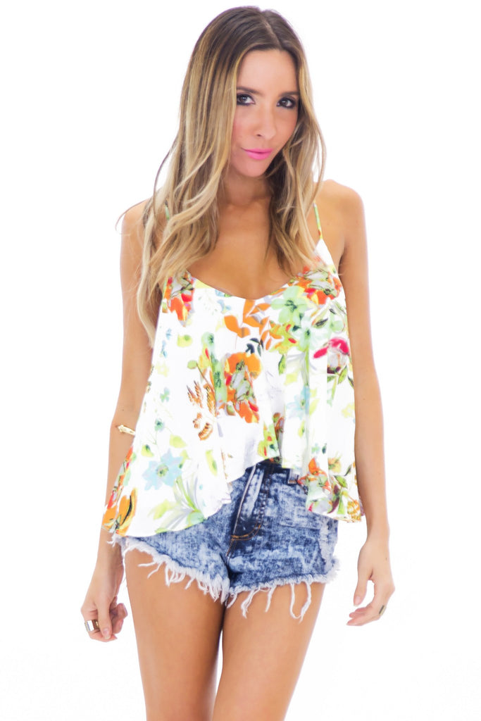 CINDY FLORAL FLARE TOP - WHITE
