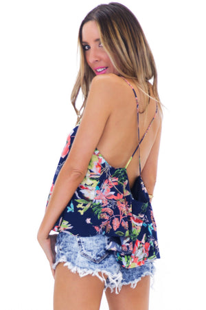 CINDY FLORAL FLARE TOP - NAVY - Haute & Rebellious