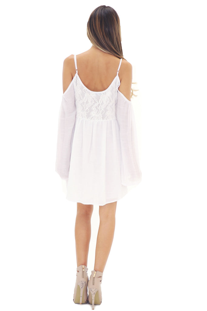 FEATHER BELL SLEEVE SUN DRESS - WHITE