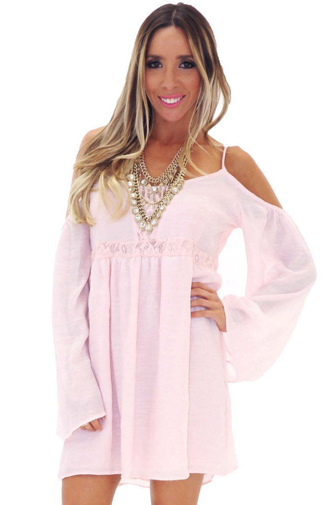 FEATHER BELL SLEEVE SUN DRESS - BLUSH
