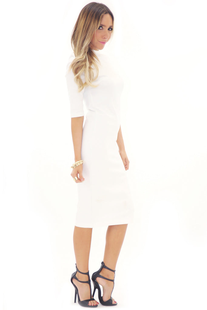 PARADOX SCUBA MIDI DRESS - WHITE