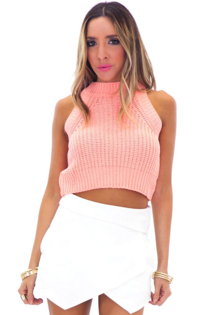 LEYLANA KNIT CROP TOP - CORAL