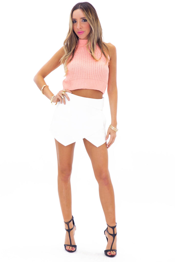 LEYLANA KNIT CROP TOP - CORAL - Haute & Rebellious