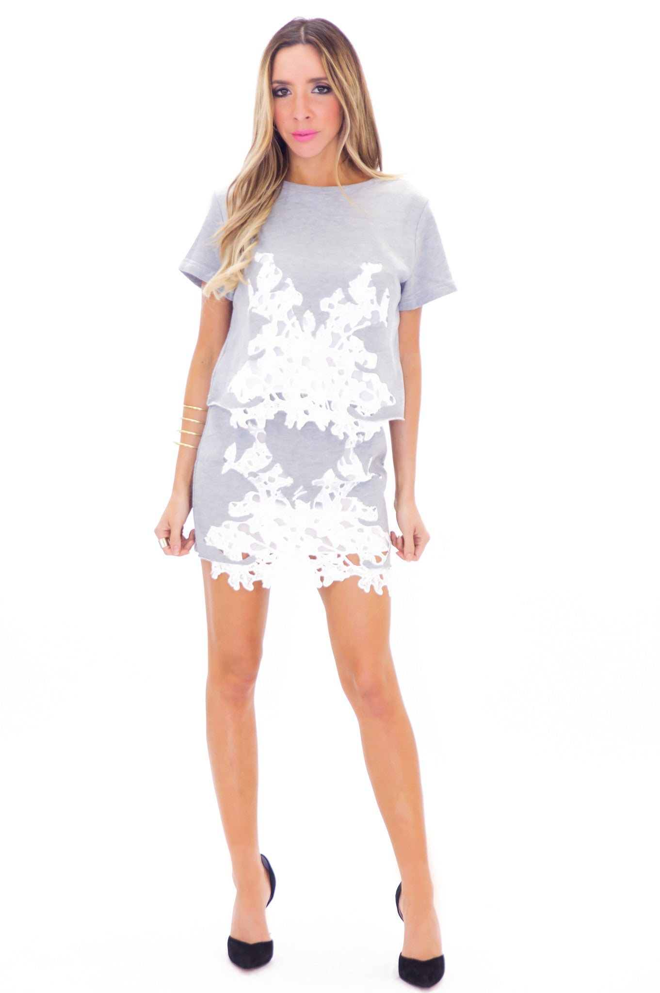Regan Lace Detail Tee Top - Haute   Rebellious 51371b1a7