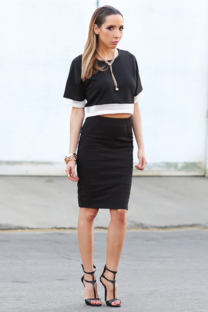 CAIN BANDAGE PENCIL SKIRT - BLACK