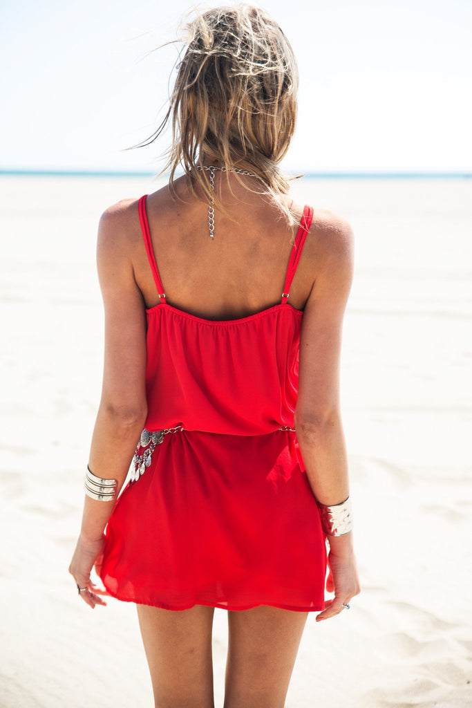 Gela Spaghetti Strap Camisole Dress - Red - Haute & Rebellious