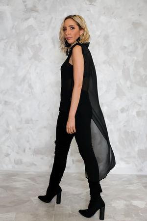 High-Low Sleeveless Chiffon Top - Haute & Rebellious