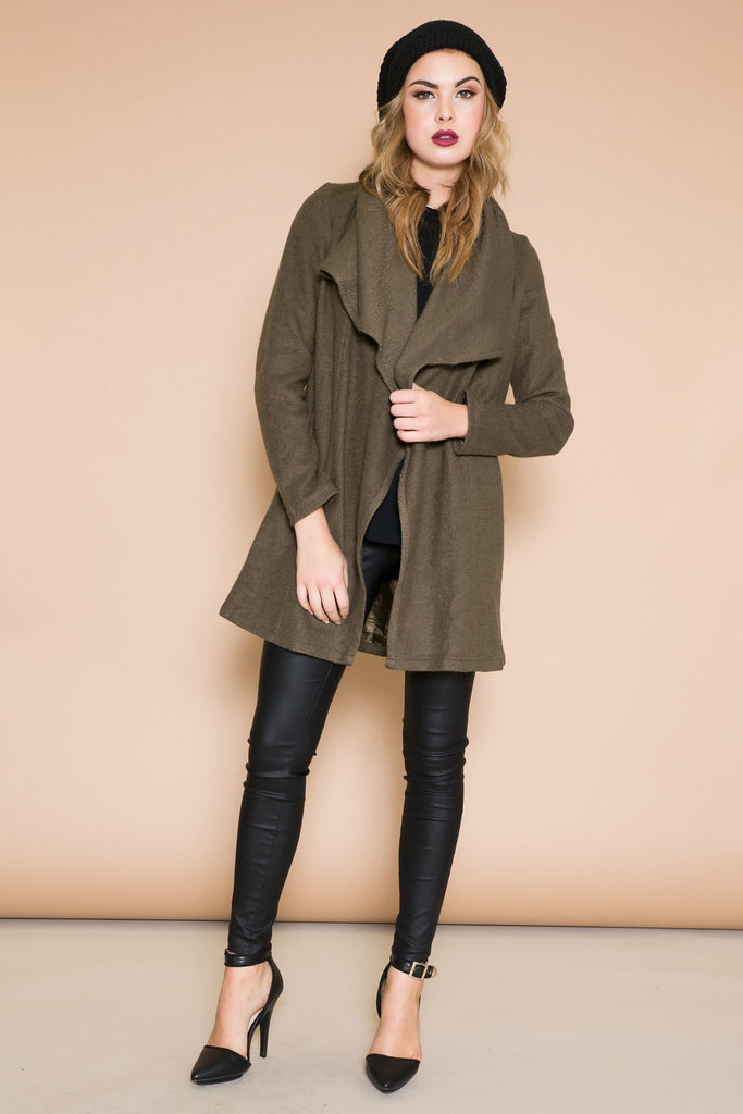 BENSIMON DRAPE COLLAR COAT - OLIVE