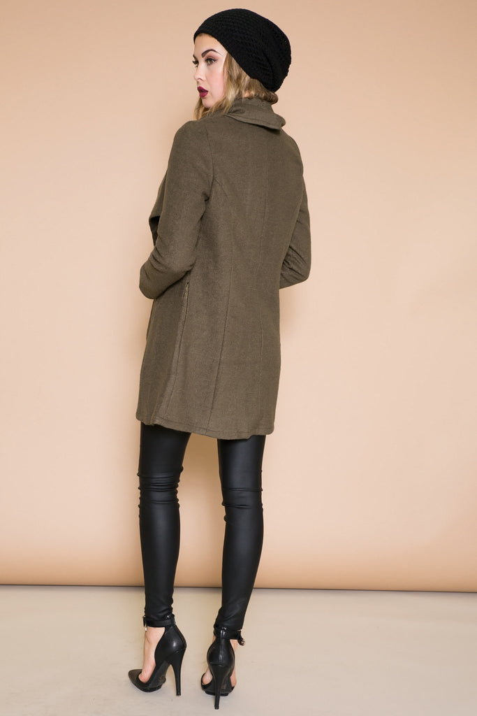 BENSIMON DRAPE COLLAR COAT - OLIVE - Haute & Rebellious
