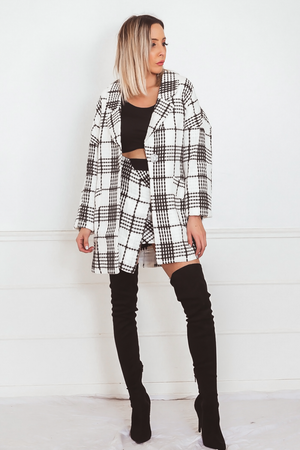 Button-Up Coat with Plaid Check Pattern