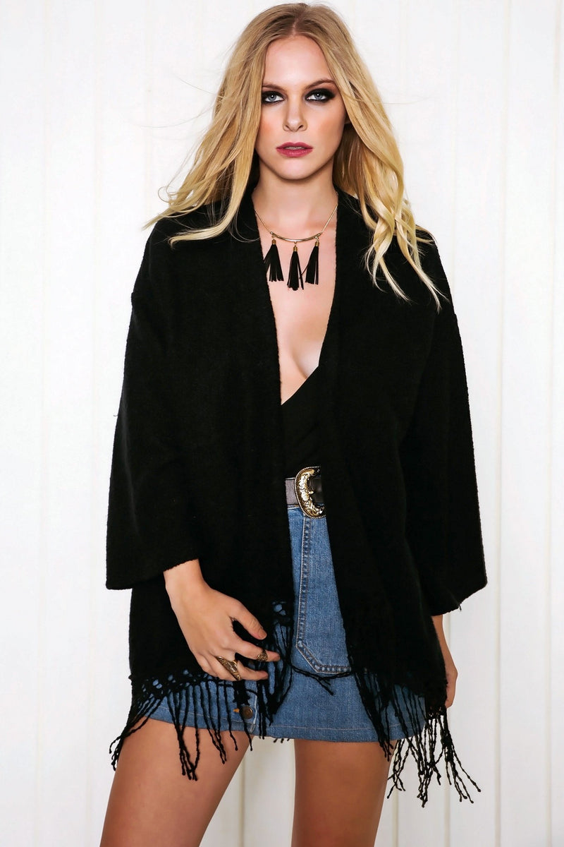 Maverick Fringe Poncho Sweater - Black - Haute & Rebellious