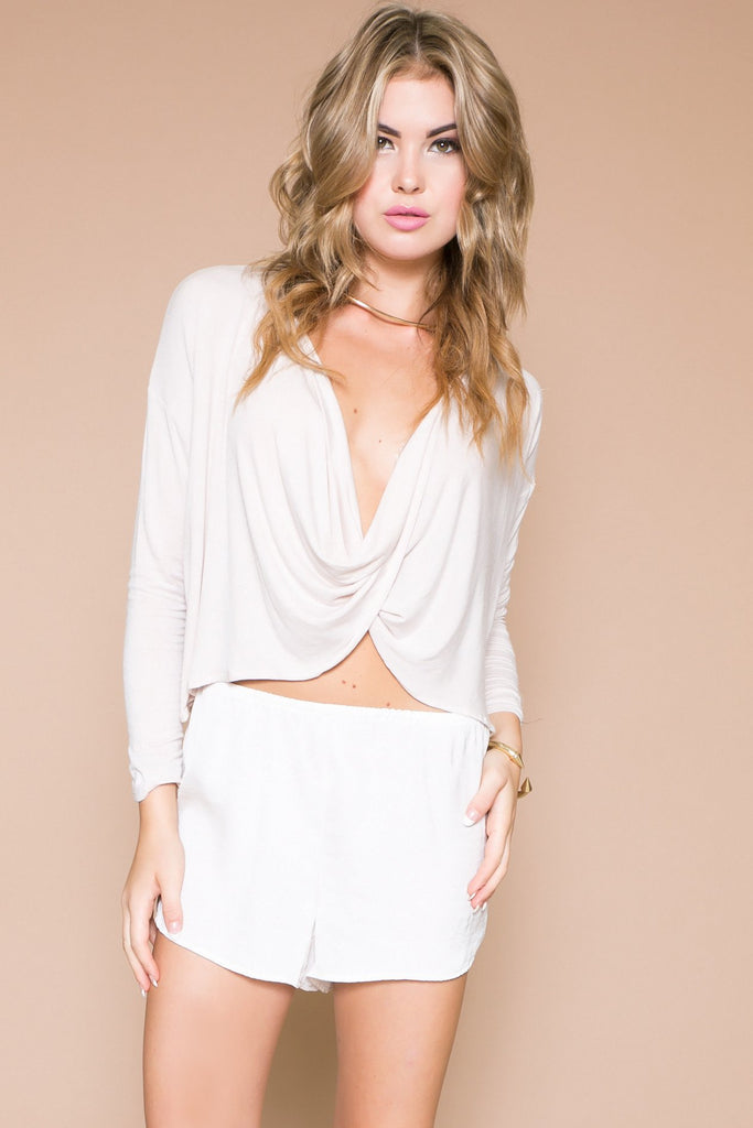 LOWE WRAP NECK CROP TEE - Haute & Rebellious