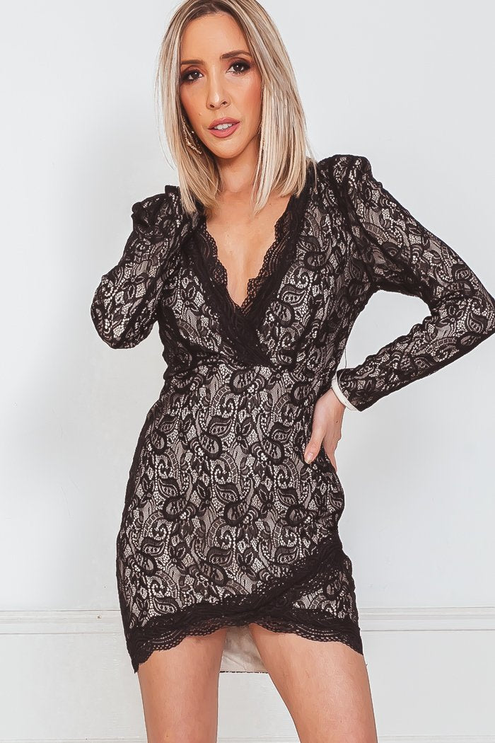 Long Sleeve Lace Dress with Wrap Design