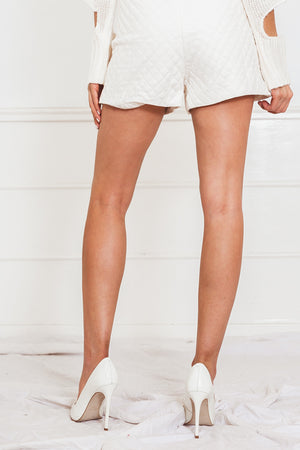 Quilted Leather Shorts - White