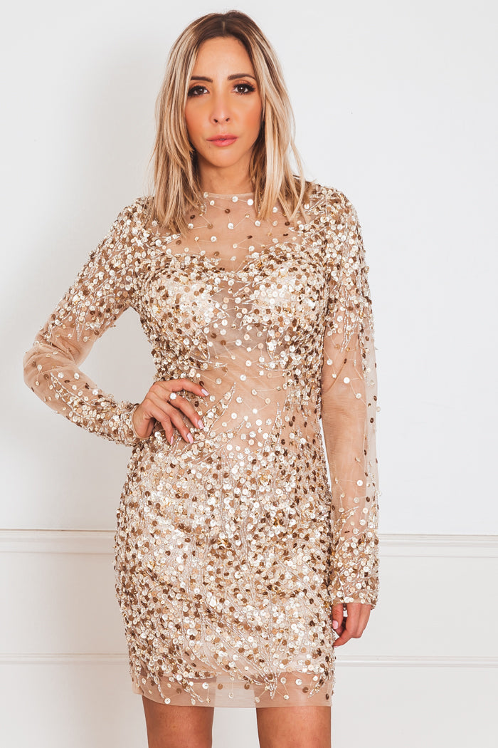Sophisticated Sequin Dress - Nude