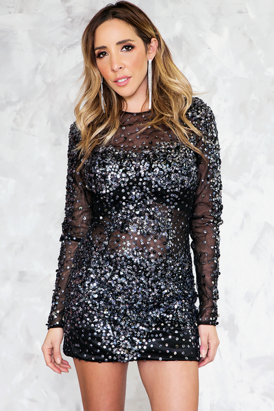 Sequin Mini Dress - Black /// Only 1-S Left ///