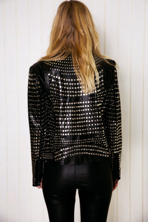 Saint Studded Leather Motorcycle Jacket - Black - Haute & Rebellious
