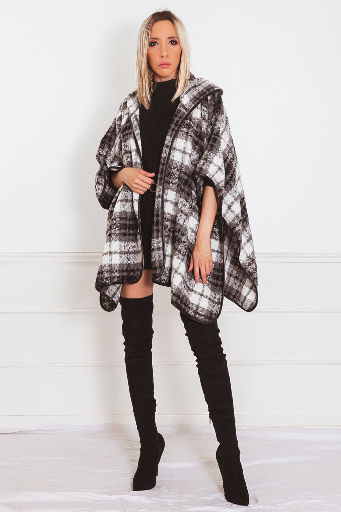 Fur Plaid Poncho Coat